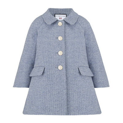 Britannical light blue coat wool Islington style by Britannical luxury children's coats luxury girls coats luxury kids coats luxury children's clothing made in Britain