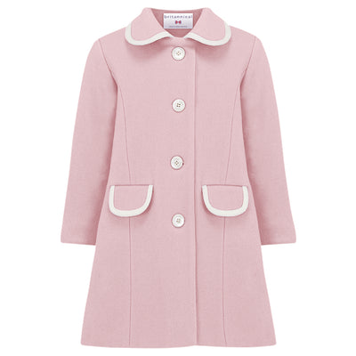 Girls pink coat wool Kensington style by Britannical luxury children's coats luxury girls coats luxury kids coats luxury children's clothing made in Britain