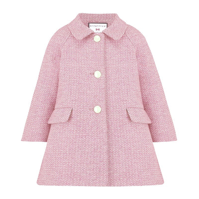 Britannical pink coat wool Islington style by Britannical luxury children's coats luxury girls coats luxury kids coats luxury children's clothing made in Britain