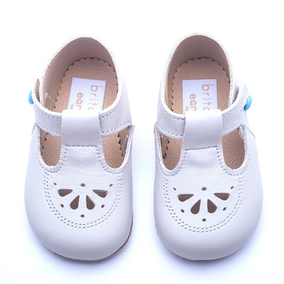 Britannical x Early Days Pre-Walker Baby Shoes cream ivory leather kids baby boy shoes baby girl shoes made in britain
