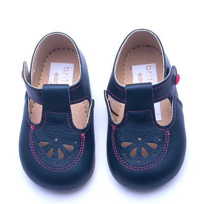 Britannical x Early Days Pre-Walker Baby Shoes navy blue leather kids baby boy shoes baby girl shoes made in britain