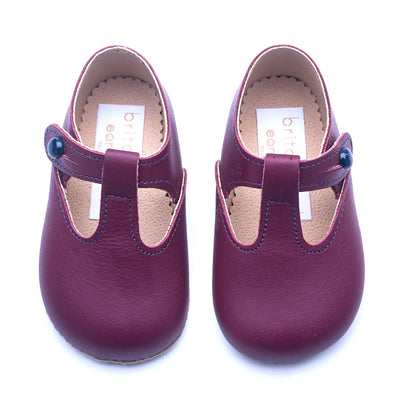 Britannical x Early Days Pre-Walker Baby Shoes Burgundy leather kids baby boy shoes baby girl shoes made in britain