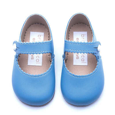 Britannical x Early Days Pre-Walker Baby Shoes blue leather mary jane baby girl shoes made in britain