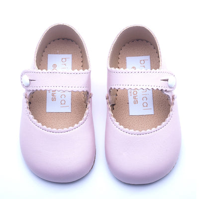 Britannical x Early Days Pre-Walker Baby Shoes pink leather mary jane baby girl shoes made in britain