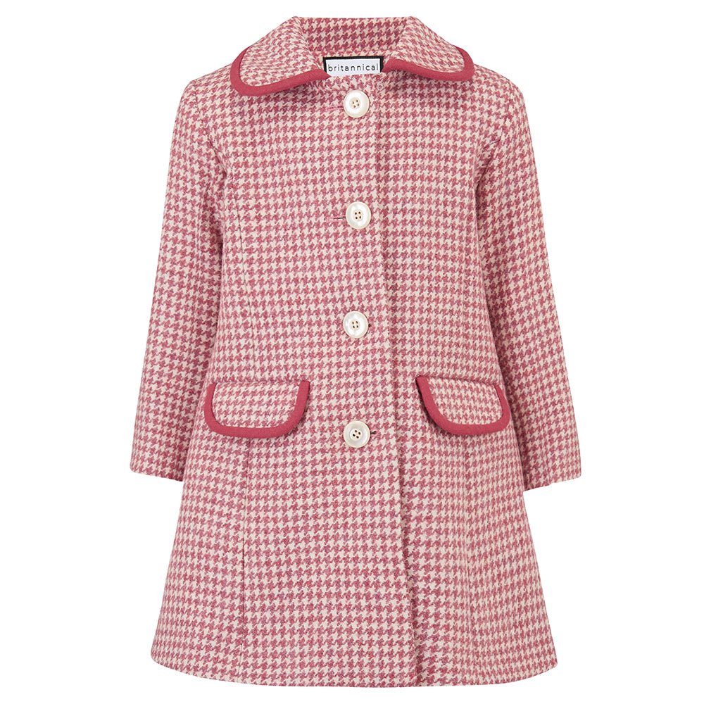 Girl's coat pink wool houndstooth 1950s Chelsea style by Britannical luxury children's coats luxury kids coats luxury children's clothing made in Britain