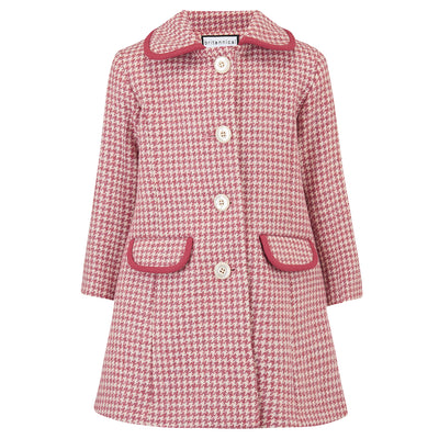 Girls coat pink wool houndstooth 1950s Chelsea style by Britannical luxury children's coats luxury kids coats luxury children's clothing made in Britain