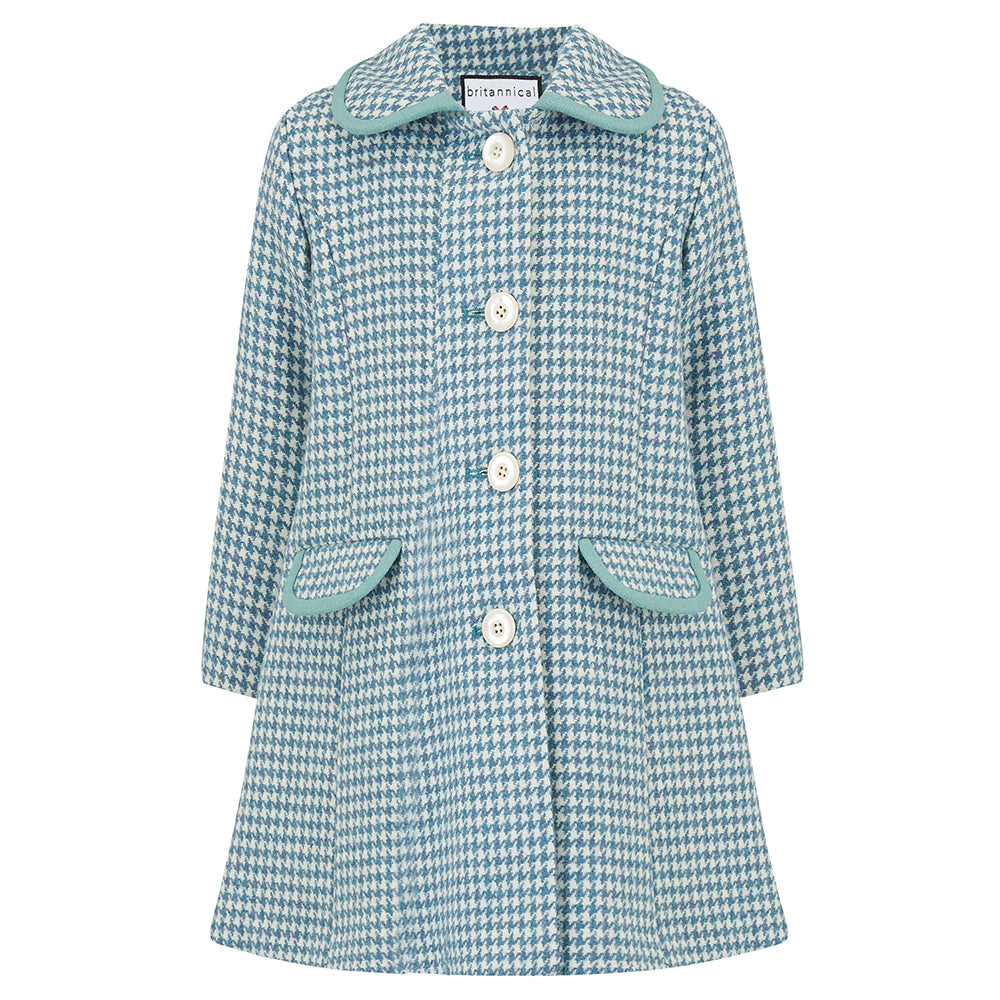 Girl's coat blue wool houndstooth 1950s Chelsea style by Britannical luxury children's coats luxury kids coats luxury children's clothing made in Britain