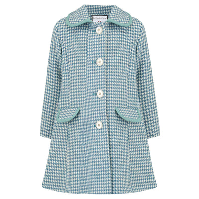 Girls coat blue wool houndstooth 1950s Chelsea style by Britannical luxury children's coats luxury kids coats luxury children's clothing made in Britain