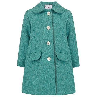 Girls coat turquoise green wool Chelsea style by Britannical luxury children's coats luxury kids coats luxury children's clothing made in Britain