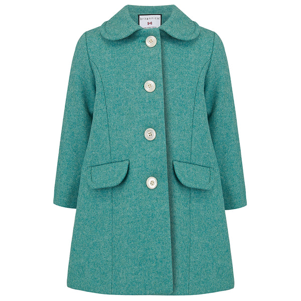 Girl's coat turquoise green wool houndstooth 1950s Chelsea style by Britannical luxury children's coats luxury kids coats luxury children's clothing made in Britain