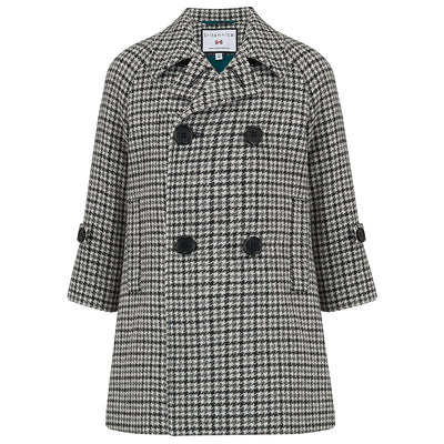 Boys coat monochrome black white wool tweed houndstooth Clerkenwell style by Britannical luxury children's coats luxury boys coats luxury kids coats luxury children's clothing made in Britain