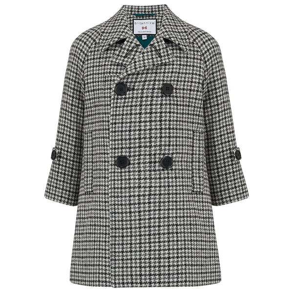 Boy's coat monochrome wool tweed houndstooth Clerkenwell style by Britannical luxury children's coats luxury kids coats luxury children's clothing made in Britain