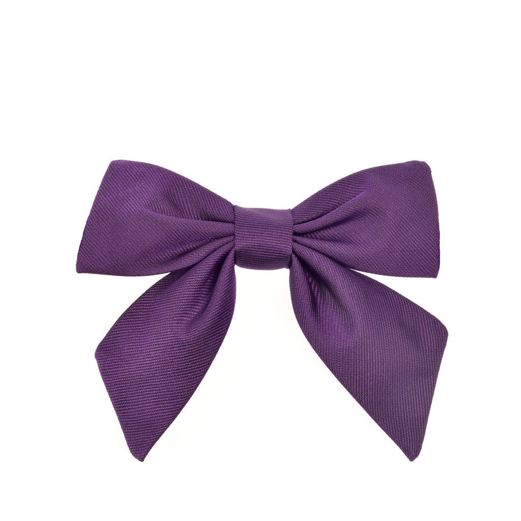 Child's neck bow silk purple by Britannical luxury children's clothing made in Britain