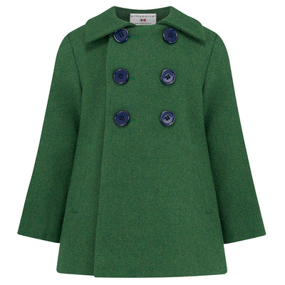Boys coat pea coat green wool Pimlico style by Britannical luxury children's coats luxury boys coats luxury boys pea coats luxury kids coats luxury children's clothing made in Britain