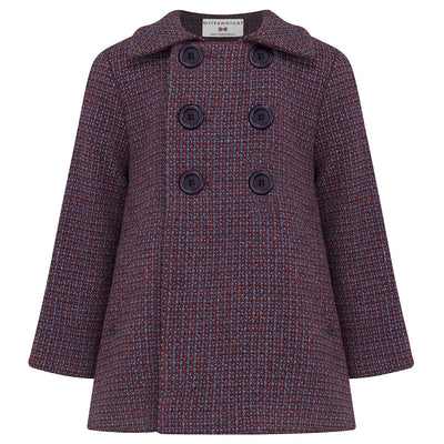 Boys coat pea coat blue red wool Pimlico style by Britannical luxury children's coats luxury kids coats luxury children's clothing made in Britain