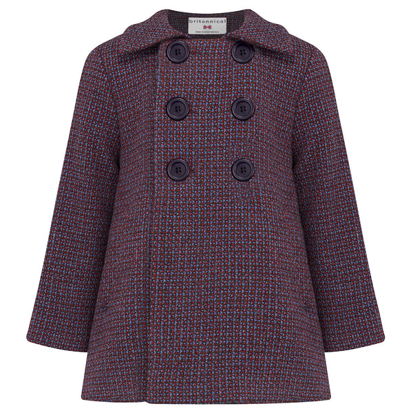 Boy's coat double breasted navy blue red monochrome wool Marylebone style  by Britannical luxury children's clothing made in Britain
