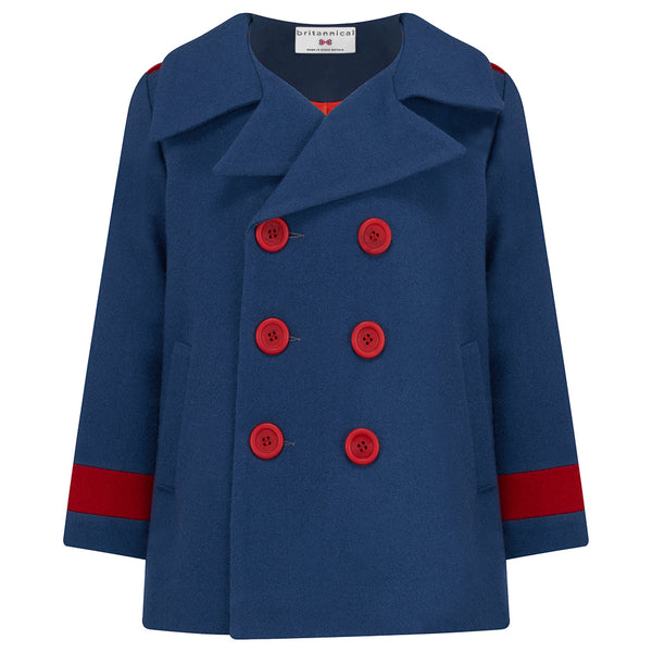 Boy's coat reefer coat blue red wool Marsden style by Britannical luxury children's coats luxury kids coats luxury children's clothing made in Britain
