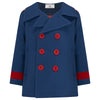 Boy's coat reefer blue red wool Marsden style by Britannical luxury children's clothing made in Britain