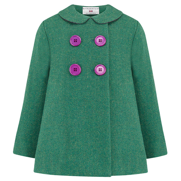 Girl's pea coat green wool Fitzrovia by Britannical luxury children's clothing made in Britain