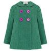 Girl's pea coat green wool Fitzrovia style by Britannical luxury children's coats luxury kids coats luxury children's clothing made in Britain