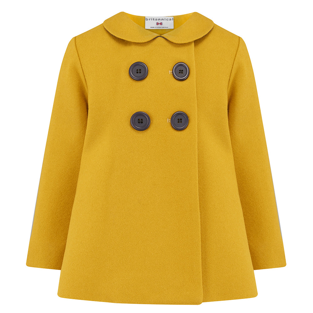 82ba14d92 Girl's pea coat mustard yellow gold wool Fitzrovia by Britannical luxury children's  clothing made in ...