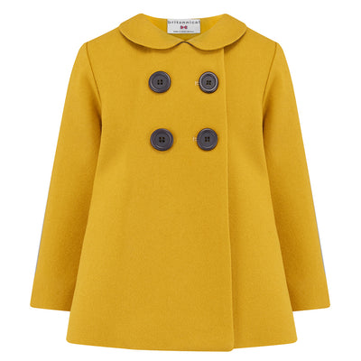 Girls pea coat mustard yellow wool Fitzrovia style by Britannical luxury children's coats luxury girls coats girls pea coats luxury kids coats luxury children's clothing made in Britain