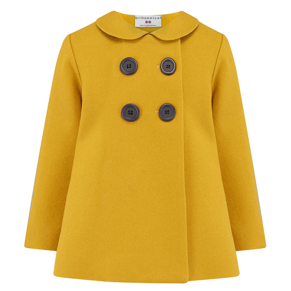 Girl's pea coat mustard yellow gold wool Fitzrovia style by Britannical luxury children's coats luxury kids coats luxury children's clothing made in Britain