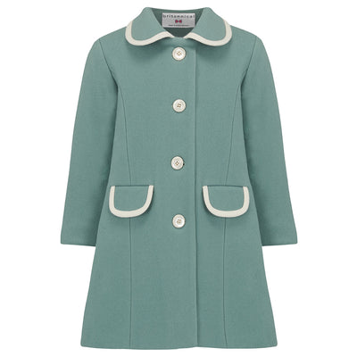 Girls coat duck egg blue green wool 1950s Kensington style by Britannical luxury children's coats luxury kids coats luxury children's clothing made in Britain