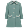 Girl's coat duck egg blue white wool 1950s Kensington style by Britannical luxury children's clothing made in Britain