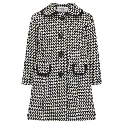 Girls monochrome black white coat wool 1950s Kensington style by Britannical luxury children's coats luxury kids coats luxury children's clothing made in Britain
