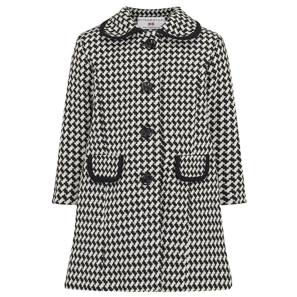 Girl's coat black white monochrome wool 1950s Kensington style by Britannical luxury children's clothing made in Britain