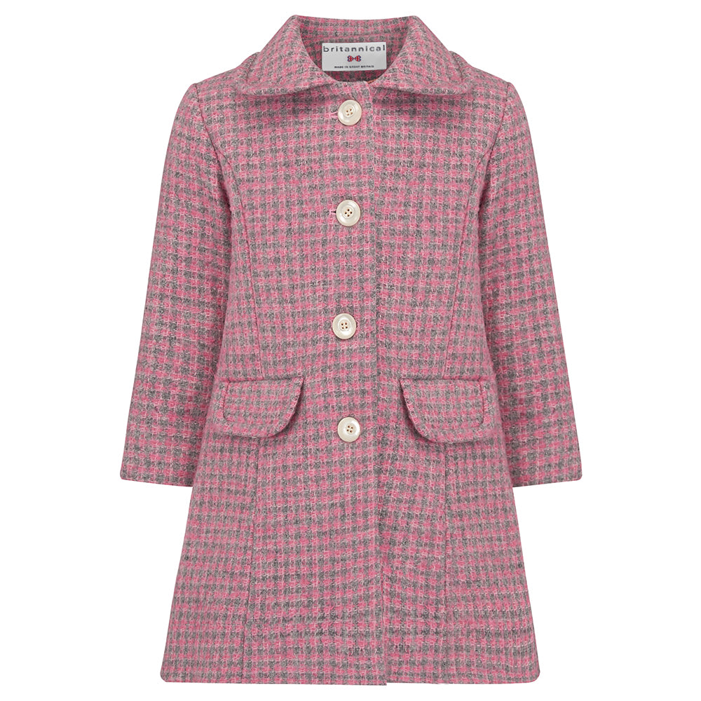 Girl's coat pink wool boucle 1950s Kensington style by Britannical luxury children's clothing made in Britain