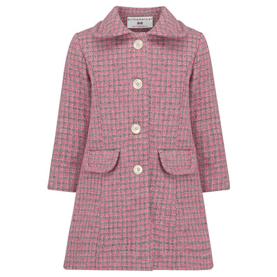 Girls coat pink wool boucle 1950s Kensington style by Britannical luxury children's clothing made in Britain