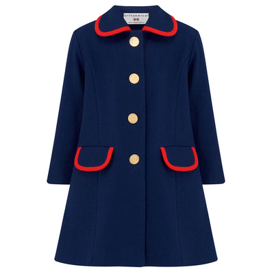 Girls coat navy blue red wool Kensington style by Britannical luxury children's coats luxury kids coats luxury children's clothing made in Britain