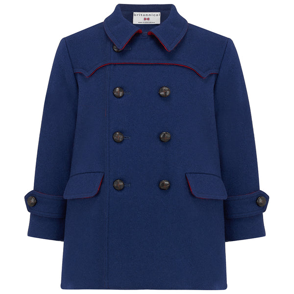 Boys coat double breasted navy blue red wool Marylebone style  by Britannical luxury children's clothing made in Britain