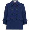 Boy's pea coat navy blue red wool Marylebone style by Britannical luxury children's coats luxury kids coats luxury children's clothing made in Britain