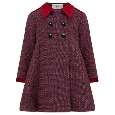 Girl's dress coat red blue wool Sandringham style by Britannical luxury children's coats luxury kids coats luxury children's clothing made in Britain