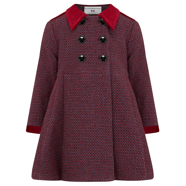 Child's dress coat red burgundy wool Sandringham style by Britannical luxury children's clothing made in Britain