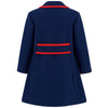 Girl's coat navy blue red wool 1950s Kensington style by Britannical luxury children's clothing made in Britain