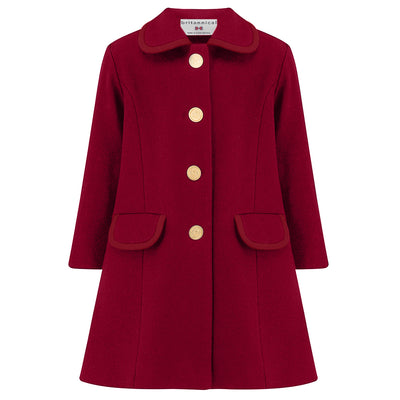 Girls coat burgundy red wool Kensington style by Britannical luxury children's coats luxury girls coats luxury kids coats luxury children's clothing made in Britain