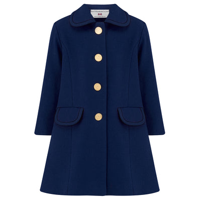 Girls coat navy blue wool Kensington style by Britannical luxury children's coats luxury girls coats luxury kids coats luxury children's clothing made in Britain
