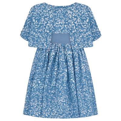 Girls dress mint blue floral cotton bolero top periwinkle Bloomsbury style luxury girls dress luxury girls dresses luxury girls outfit luxury children's clothing made in Britain