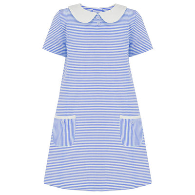 Girls dress blue white stripe cotton by Britannical luxury girls dresses luxury girls dress girls summer dress luxury children's clothing made in Britain