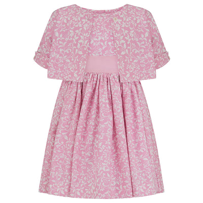 Girls dress pink floral cotton bolero top Bloomsbury style luxury girls dress luxury girls dresses luxury girls outfit luxury children's clothing made in Britain