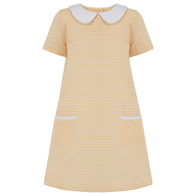 Girls dress yellow stripe stripes cotton Carnaby style by Britannical luxury girls dresses luxury girls dress luxury children's clothing made in Britain