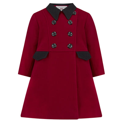 Girls dress coat red burgundy wool Piccadilly style by Britannical luxury children's coats luxury girls coats luxury girls dress coats luxury kids coats luxury children's clothing made in Britain