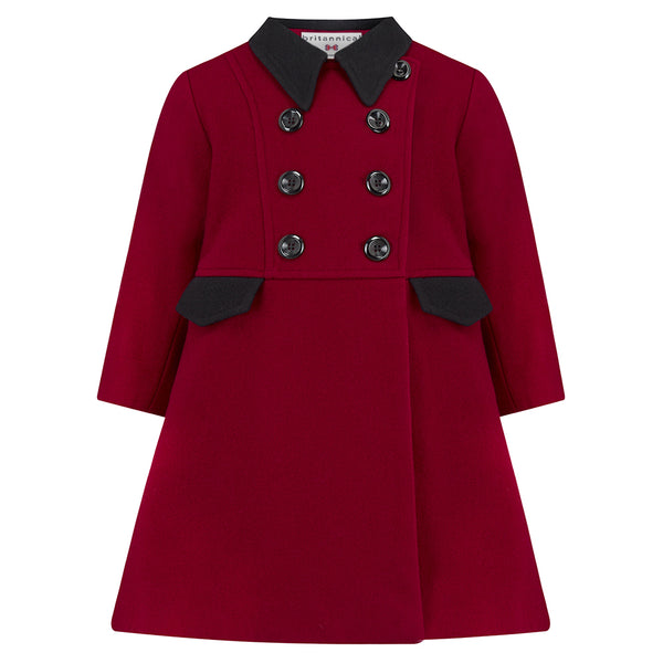 Girl's dress coat red burgundy wool Piccadilly style by Britannical luxury children's coats luxury kids coats luxury children's clothing made in Britain