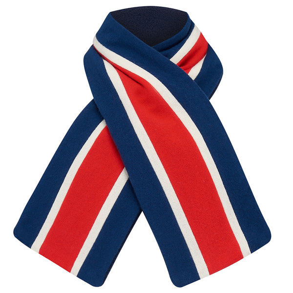 Child's scarf college wrap mods red white blue wool by Britannical luxury children's clothing made in Britain