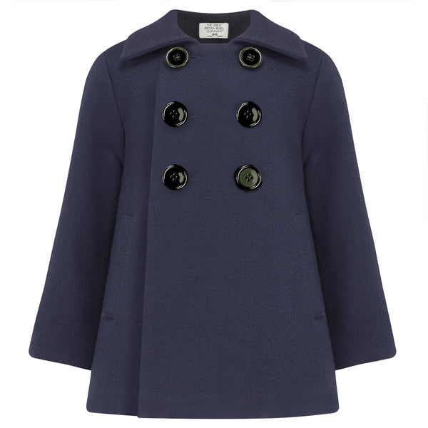 THE GREAT BRITISH BABY COMPANY. LUXURY CHILDREN'S CLOTHING. BOYS COAT NAVY BLUE WOOL BRITISH MADE IN BRITAIN