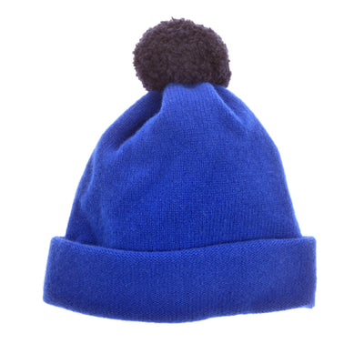 Children's bobble hat kids hat blue wool by Britannical luxury children's coats luxury children's accessories luxury children's clothing made in Britain